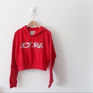NWT Victoria's Secret Sport VSX Red Crop Hoodie